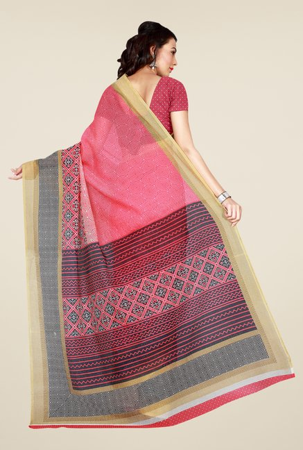 Shonaya Pink & Beige Art Silk Saree