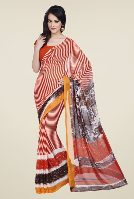 Shonaya Orange Dani Georgette Saree