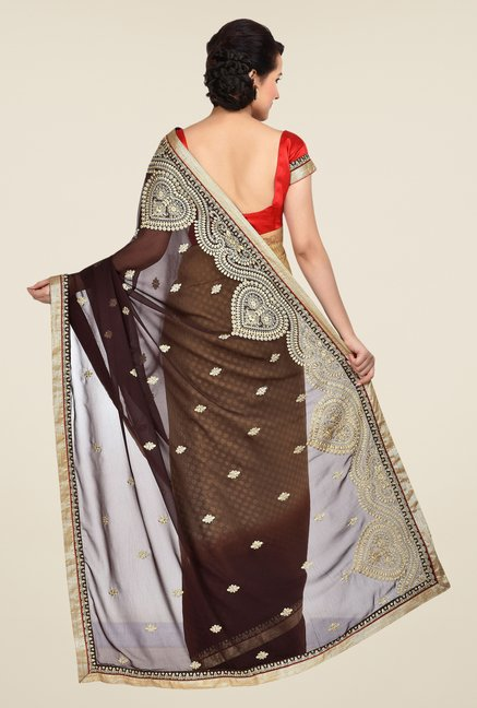 Shonaya Brown & Beige Georgette Saree