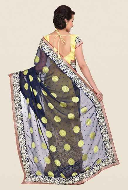 Shonaya Yellow & Blue Georgette Saree