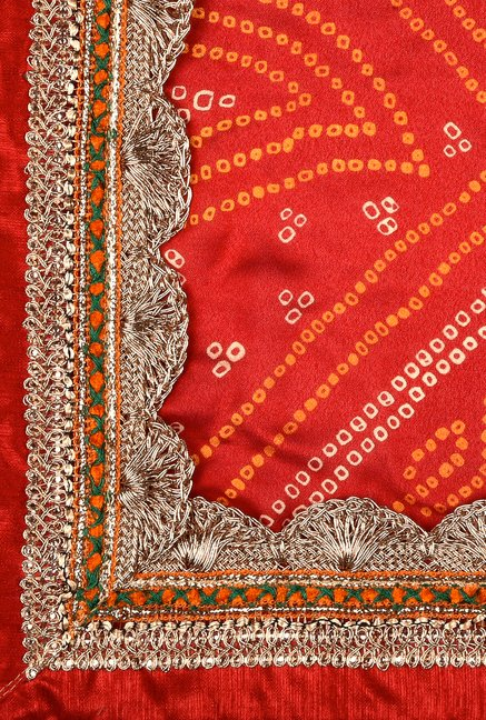Shonaya Red & Orange Georgette Saree