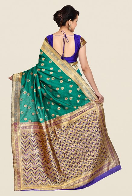 Shonaya Green & Gold Banarasi Art Silk Saree