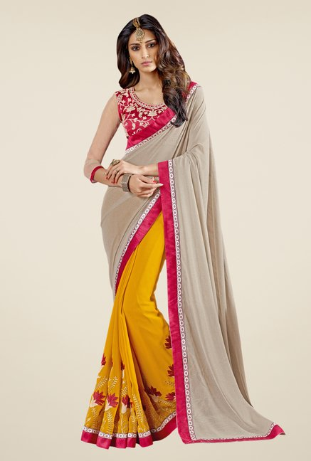 Triveni Yellow & Pink Embroidered Faux Georgette Saree