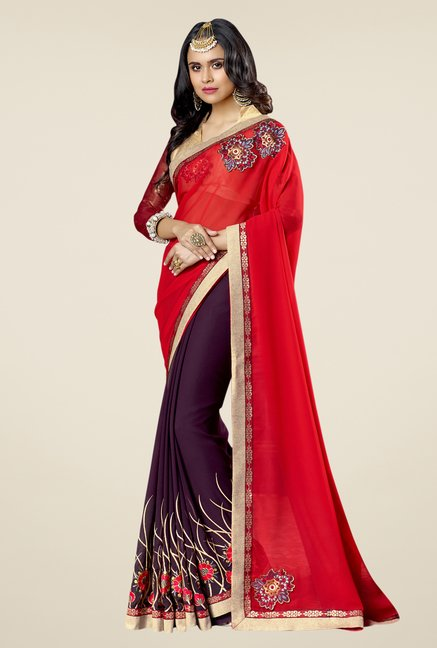 Triveni Red & Purple Embroidered Faux Georgette Saree