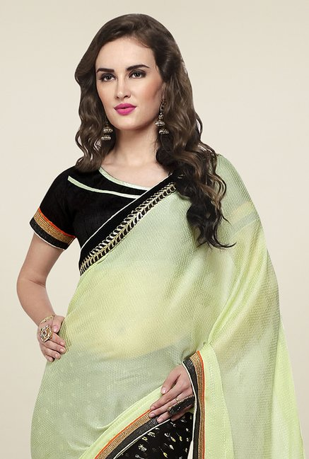 Triveni Black & Yellow Printed Jacquard Georgette Saree