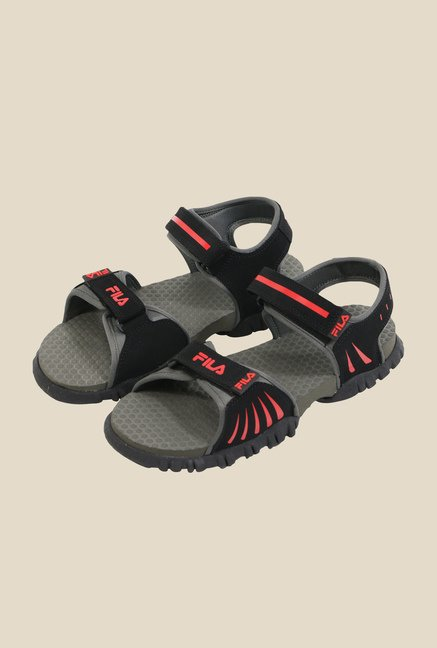 ca97d61a64a7 Buy Fila Eros Black   Red Floater Sandals For Men Online At Tata CLiQ