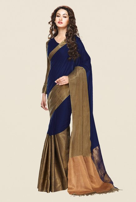 Shonaya Navy & Gold Cotton Silk Printed Saree