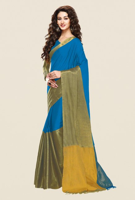Shonaya Blue & Gold Cotton Silk Printed Saree