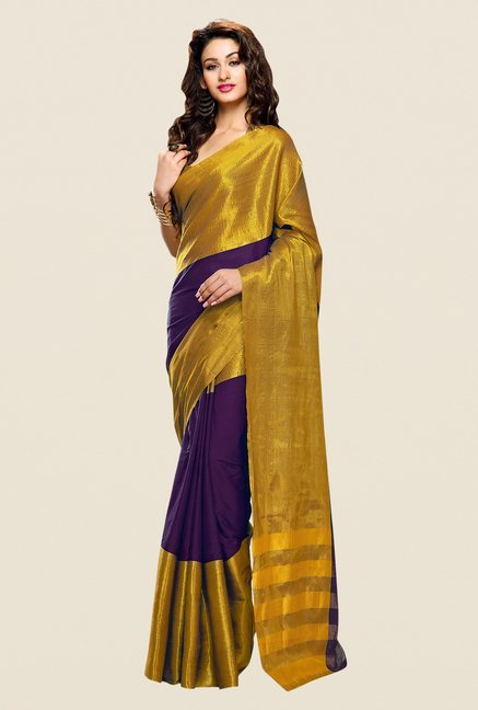 Shonaya Purple & Gold Cotton Silk Printed Saree