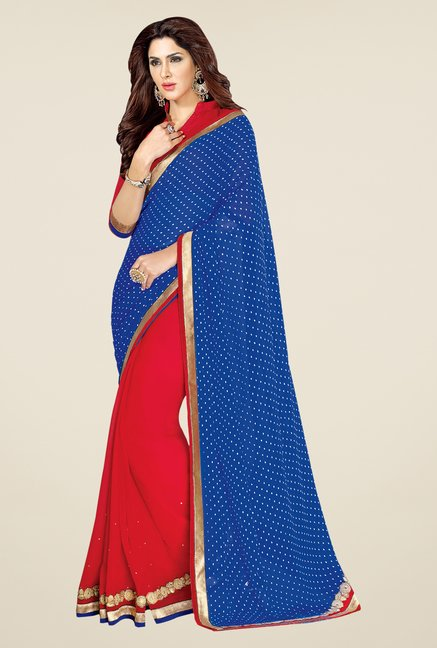 Shonaya Blue & Red Georgette Embellished Saree