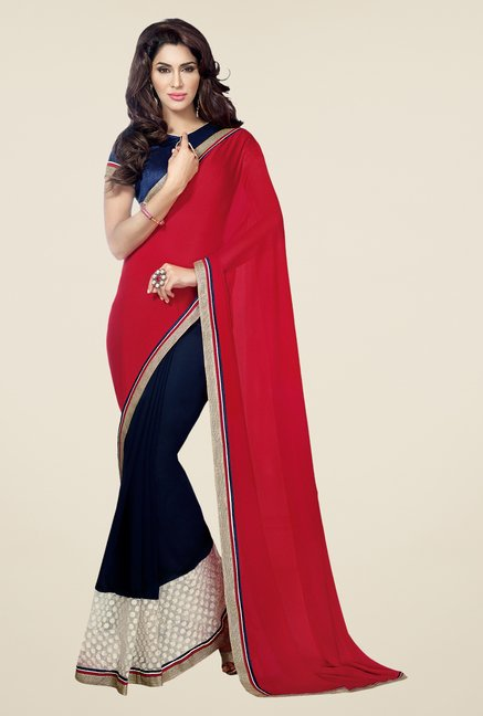 Shonaya Red & Navy Georgette Solid Saree