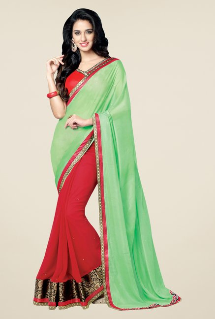 Shonaya Green & Red Faux Georgette Embroidered Saree