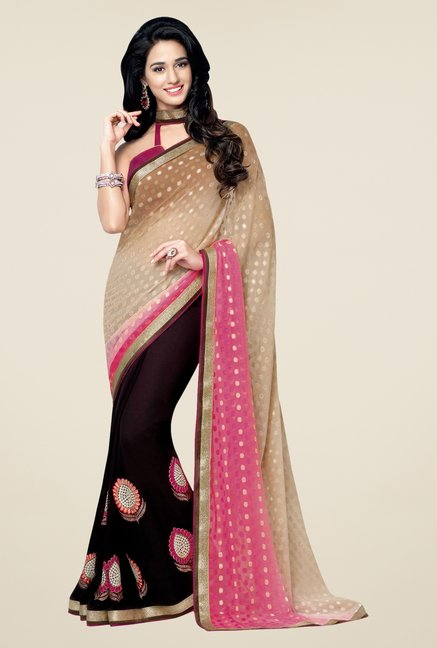 Shonaya Beige & Purple Georgette & Chiffon Printed Saree