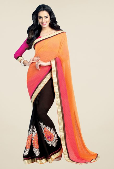 Shonaya Orange & Brown Chiffon Embroidered Saree