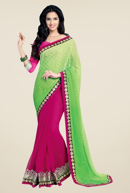 Shonaya Pink & Green Georgette Printed Saree