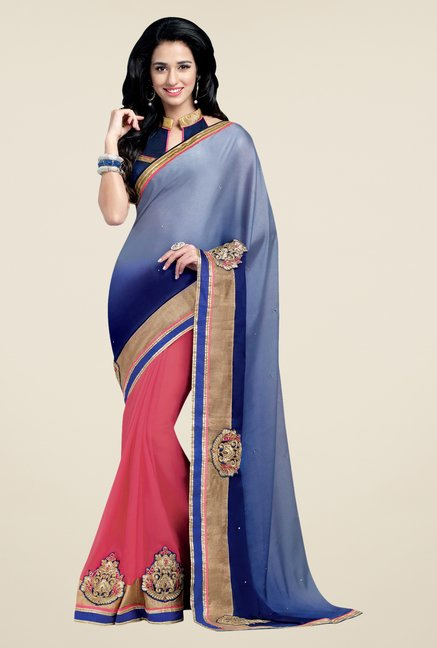 Shonaya Navy & Pink Georgette Embroidered Saree