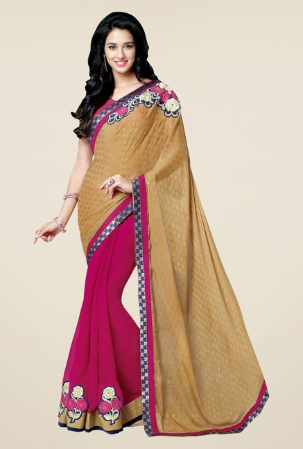 Shonaya Brown & Pink Georgette Embroidered Saree