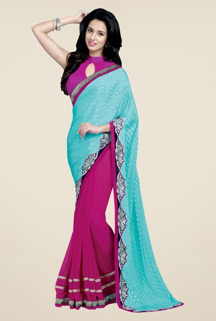 Shonaya Pink & Blue Georgette Embroidered Saree