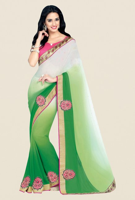 Shonaya Green & Off White Georgette Embroidered Saree