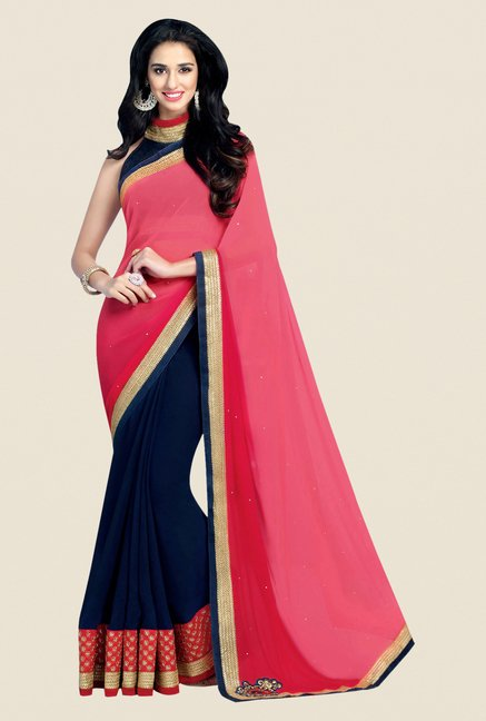 Shonaya Pink & Navy Georgette Embroidered Saree