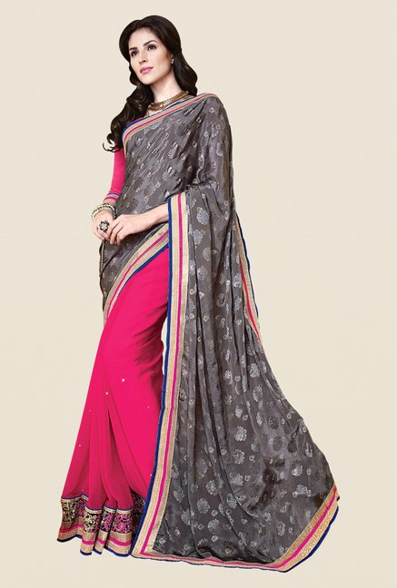 Shonaya Pink & Grey Faux Georgette Printed Saree