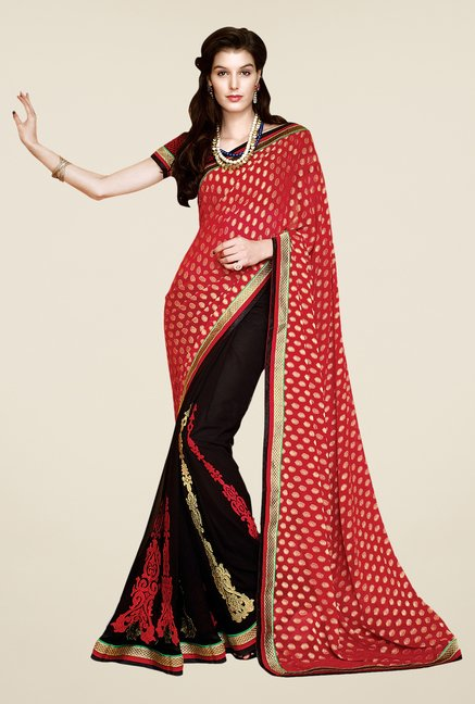 Shonaya Red & Brown Faux Georgette Printed Saree