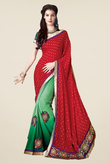 Shonaya Red & Green Faux Georgette Printed Saree