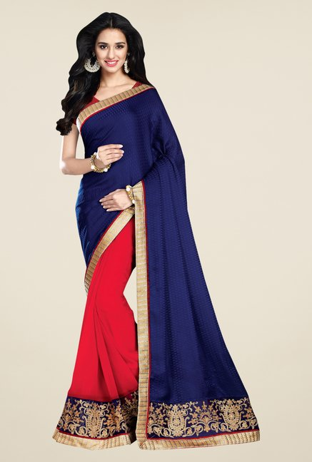 Shonaya Navy & Red Georgette & Jacquard Printed Saree