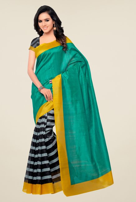 Shonaya Teal & Black Bhagalpuri Silk Striped Saree