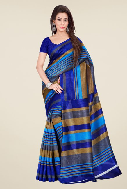 Shonaya Blue & Beige Bhagalpuri Silk Striped Saree