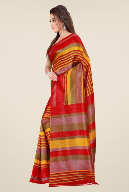 Shonaya Red & Rust Bhagalpuri Silk Striped Saree