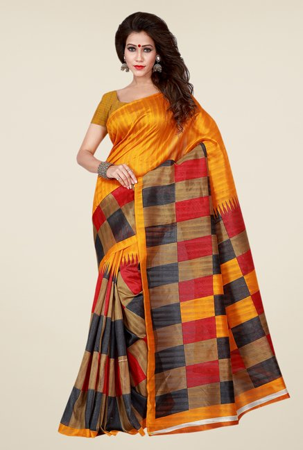 Shonaya Yellow & Beige Bhagalpuri Art Silk Checks Saree