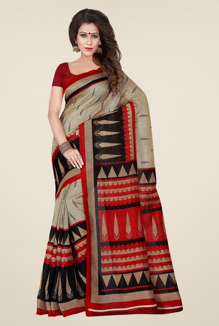 Shonaya Beige & Red Bhagalpuri Art Silk Printed Saree