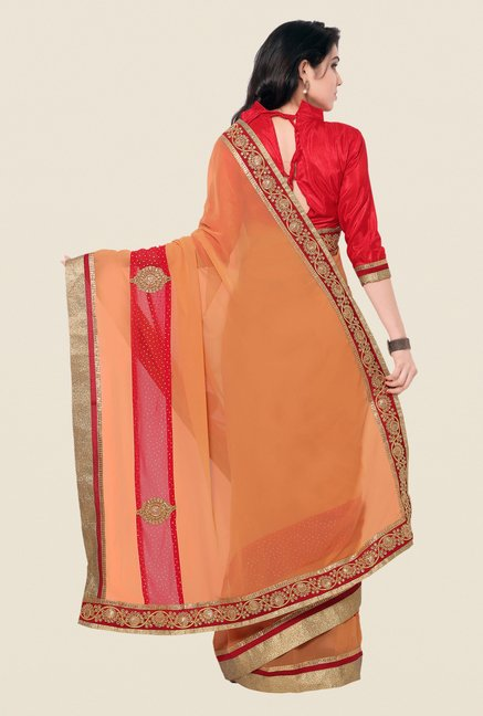 Shonaya Orange & Red Georgette Embroidered Saree