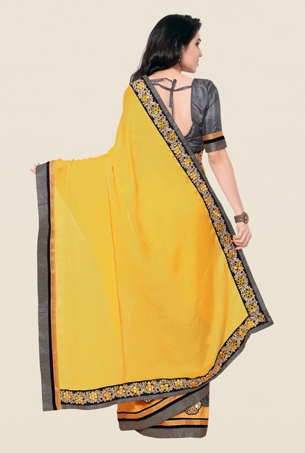 Shonaya Grey & Yellow Chinnon & Georgette Embroidered Saree