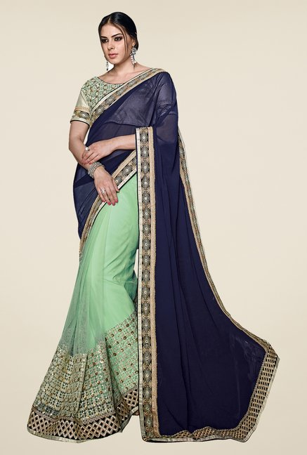 Shonaya Green & Blue Net & Georgette Embellished Saree