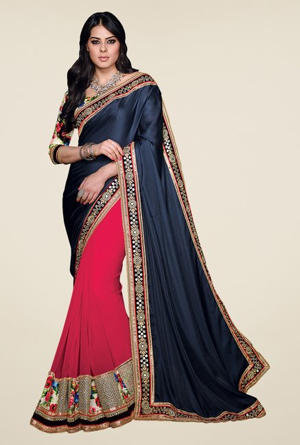 Shonaya Navy & Pink Satin Georgette Embellished Saree