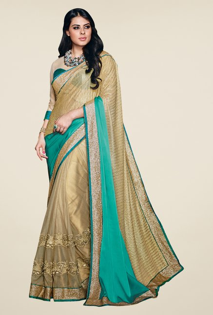 Shonaya Gold & Green Net Satin Georgette & Lycra Saree