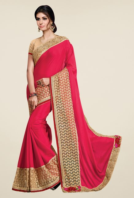 Shonaya Pink & Beige Chinnon Chiffon Embroidered Saree