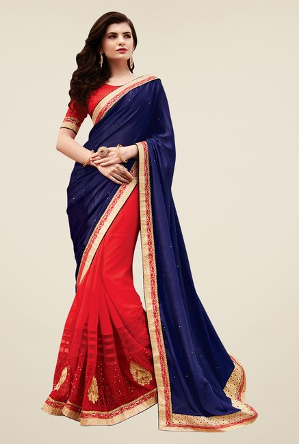 Shonaya Red & Navy Georgette Net & Satin Embroidered Saree