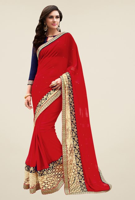 Shonaya Red Georgette Embroidered Free Size Saree