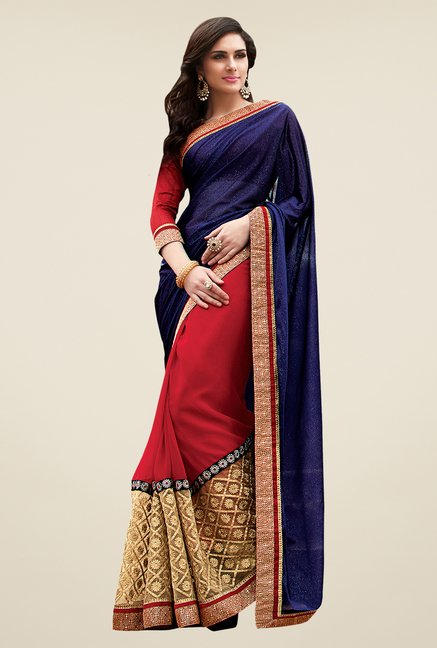 Shonaya Navy & Red Georgette Net & Lycra Embellished Saree