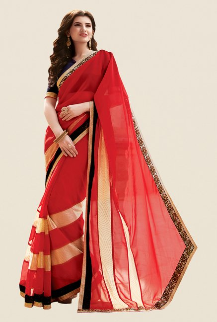 Shonaya Coral Georgette Embroidered Free Size Saree