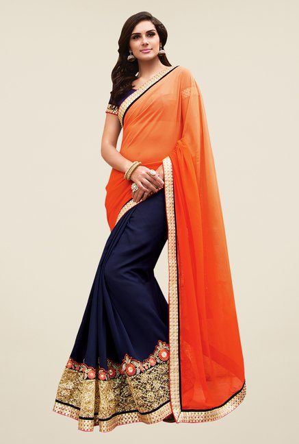 Shonaya Orange & Navy Georgette Embroidered Saree