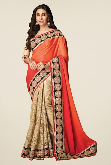 Shonaya Orange & Beige Net & Satin Georgette Saree
