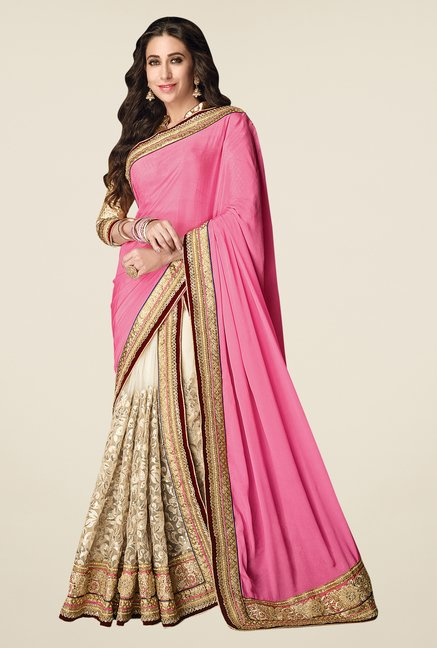 Shonaya Pink & Off White Net & Chiffon Embroidered Saree