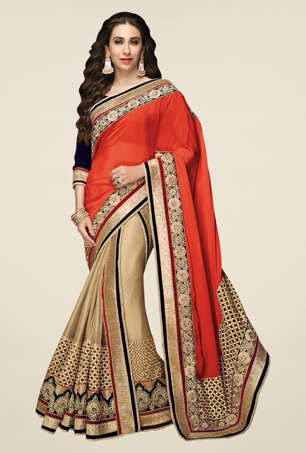 Shonaya Beige & Orange Lycra Georgette & Chiffon Saree