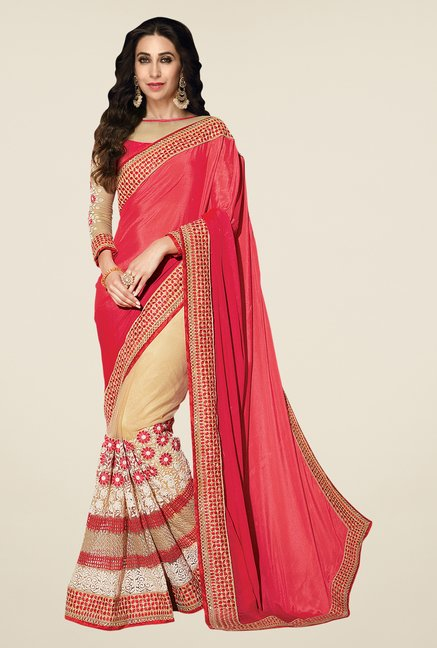 Shonaya Coral & Beige Net & Chiffon Embroidered Saree