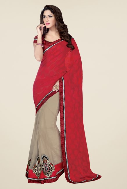 Shonaya Red & Beige Net Body Printed Saree