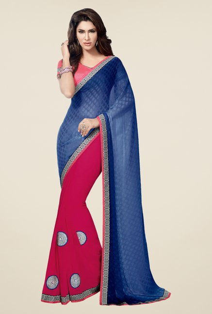 Shonaya Blue & Pink Georgette Printed Saree